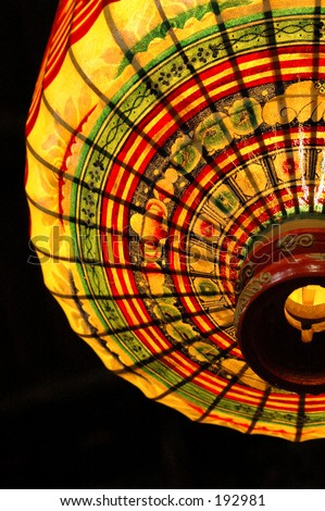 Traditional Chinese lantern being lighten up