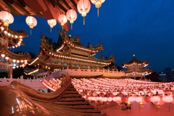 Traditional Chinese lanterns display in Thean Hou Temple illuminated for Chinese new year festival, Kuala Lumpur, Malaysia.