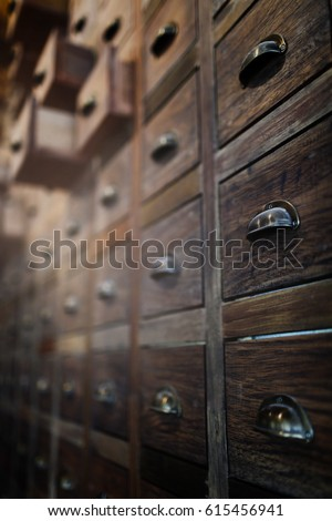 Traditional Chinese medicine chest (drawer, cabinet),selective focus and very shallow depth of field. #615456941