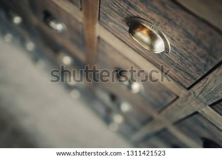 Traditional Chinese medicine chest (drawer, cabinet).Shallow depth of field. #1311421523