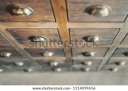 Traditional Chinese medicine chest (drawer, cabinet).Shallow depth of field. #1314099656
