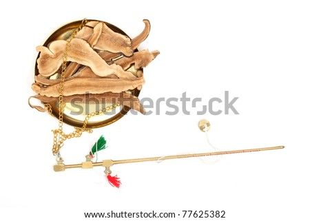 Traditional Chinese medicine tool with medicine. - stock photo