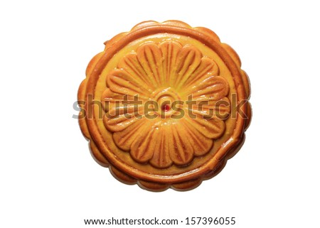 Traditional Chinese mid autumn festival food. moon cakes on white background.