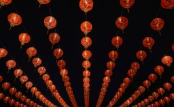 Traditional Chinese New Year Lantern or Spring Festival at night with the Chinese character and symbol blessings written mean best wishes and lucrative