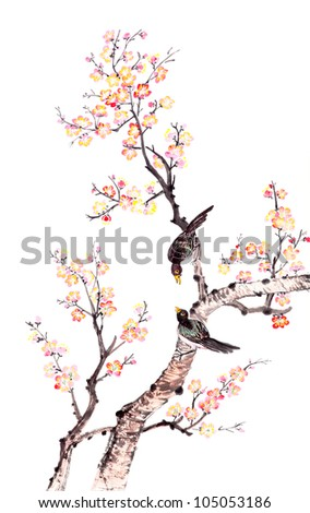 Traditional Chinese painting of flowers, plum blossom and two birds on tree, white background.