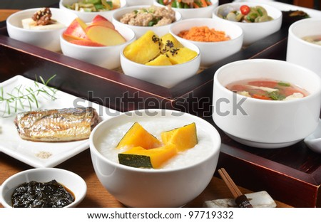 Traditional chinese  rice  porridge on dinner table