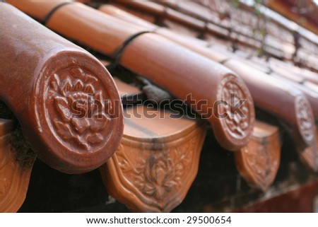 Traditional Chinese roof tiles - stock photo