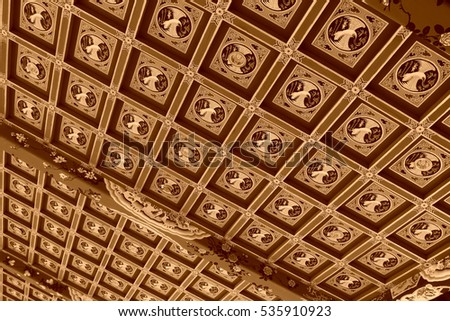 traditional Chinese style painting ceiling, closeup of photo #535910923