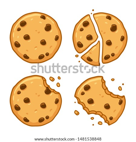 Traditional chocolate chip cookies. Bitten, broken, cookie crumbs. Cartoon illustration set.