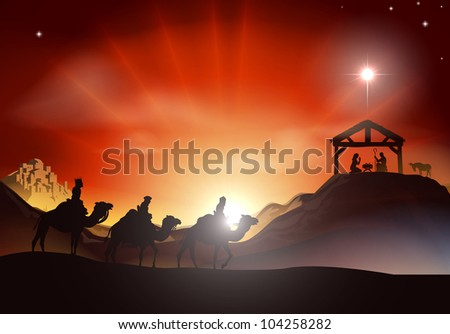 Traditional Christian Christmas Nativity scene with the three wise men - stock photo