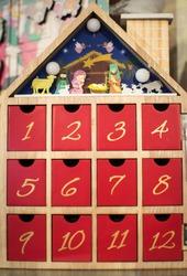 Traditional Christmas advent calendar on display