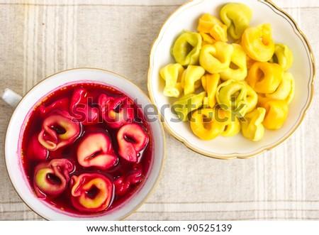 Traditional christmas borscht with dumplings