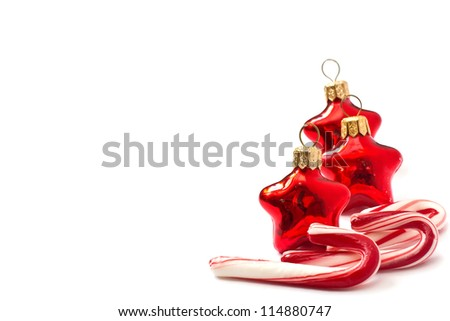 Traditional christmas candy can isolated on white background. With copy space.