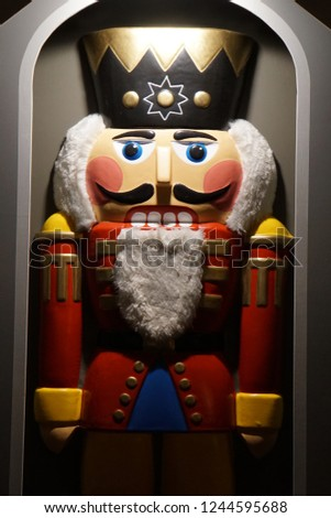 Traditional Christmas Figur. Festive Decoration Nutcracker. Beautiful Background And Close Up.  #1244595688