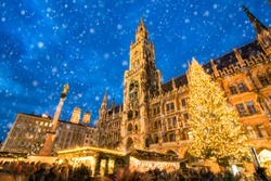 Traditional Christmas market in Munich also known as the Christkindlmarkt at the Marienplatz square