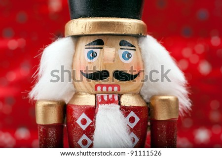 Traditional Christmas Nutcracker Wearing A Old Military Style Uniform