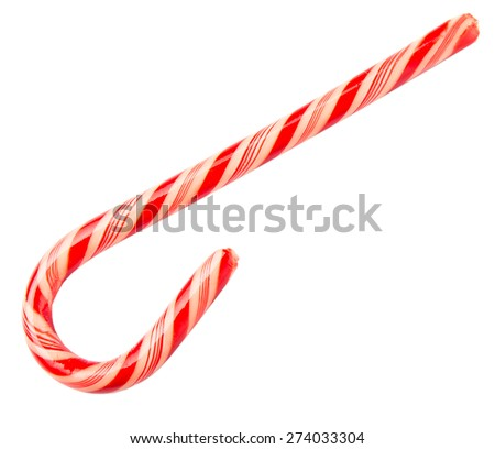 Traditional Christmas red and white stripe candy cane over white background #274033304