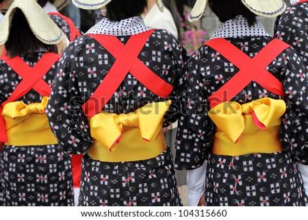 Traditional clothes of kimono, closeup of back view