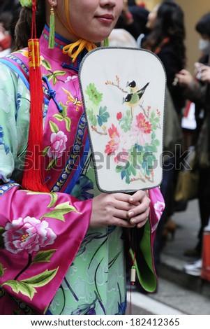 Traditional clothing at Chinese New Year Parade in Chinatown, Yokohama