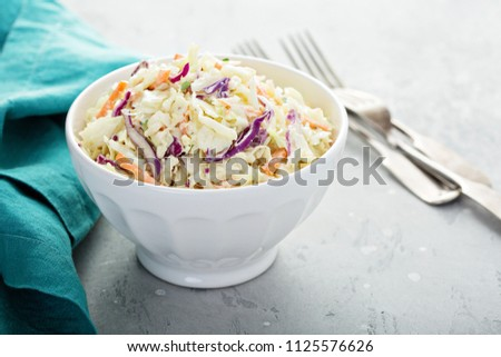 Traditional cole slaw salad in a white bowl Photo stock ©