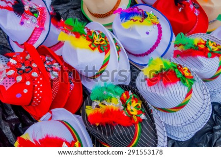 Traditional Colombian colorful straw hats from street vendors in Colombia\'s most important folklore celebration, the Carnival of Barranquilla, Colombia