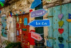 Traditional Colorful Greek Direction Indicators on Zakynthos