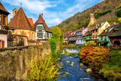 Traditional colorful houses in Kaysersberg, Alsace, one of the most beautiful villages of France