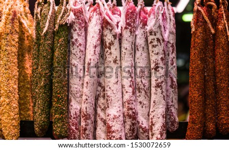 Traditional colorful Italian delicatessen salami sausage