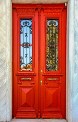 Traditional colorful red door, Athens, Greece, Europe