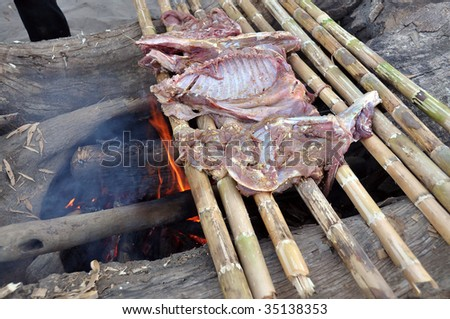 traditional cooking of wildboar, Amazonia