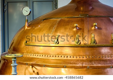 Traditional copper distillery tanks in a beer brewery Stock photo ©