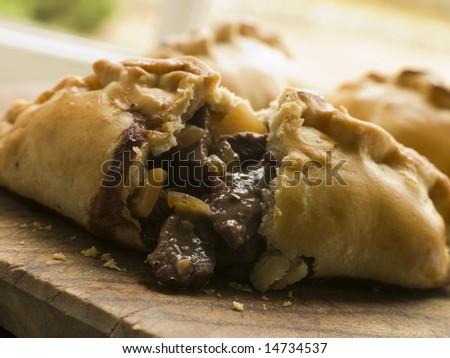 Traditional Cornish Pasty broken open