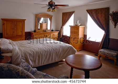 Traditional Country Style Bedroom In American Home Interior Stock