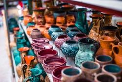 Traditional Cretan painted ceramics for sale, Crete, Greece, Europe
