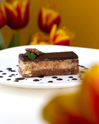 Traditional Croatian dessert Bajadera. Walnut and almond flour pralines covered with sweetened chocolate. Keto Dessert. Low carb homemade cake.