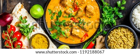 Traditional curry and ingredients #1192188067