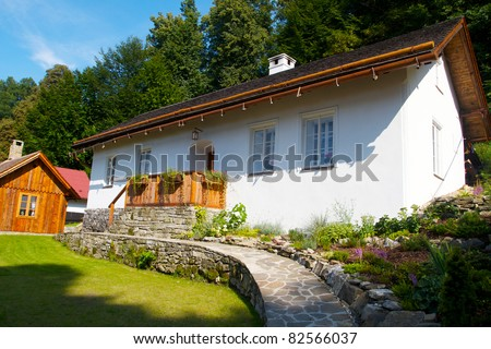 Traditional czech house/cottage at village nearby forest painted on white in mid summer