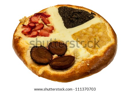 Traditional Czech pie on a white background.