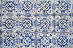 traditional decorative portuguese azulejos tiles with floral pattern