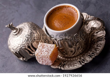 Traditional delicious Turkish coffee and Turkish delight Stock photo ©