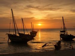 Traditional dhow boats during sunset time., Zanzibar, Tanzania, Africa