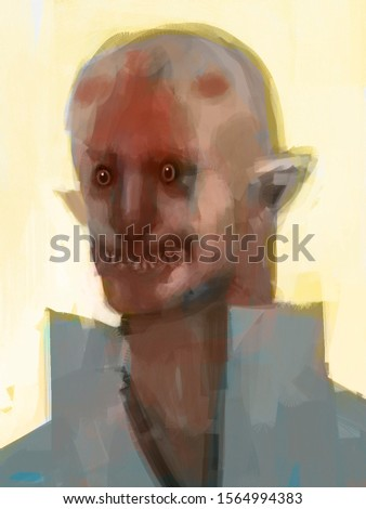 Traditional digital painting of a humanoid creature, concept art, portrait illustration