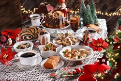 traditional dishes and cakes for Christmas Eve in Poland in rustic style