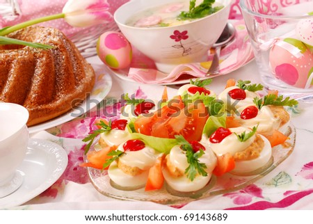 traditional  dishes for polish easter breakfast on festive table