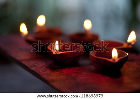 Traditional Diwali lamps and candles lit on the occasion of Diwali festival
