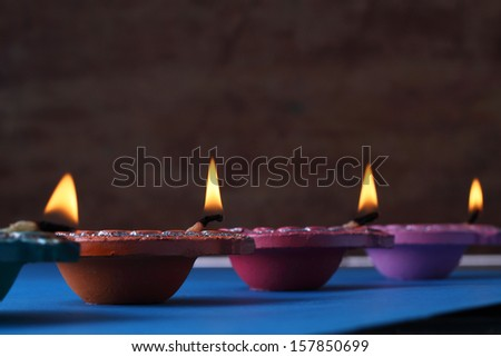 Traditional Diwali lamps lit on the occasion of Diwali festival