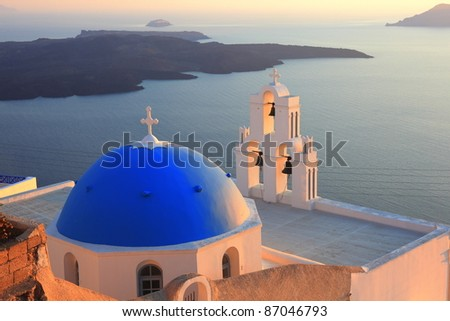 traditional dome and church bell at Santorini, Greece