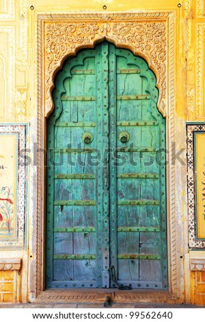 Traditional door in Nahargarh Fort, Jaipur, Rajasthan - stock photo