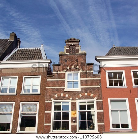 traditional dutch houses in the historical city of Delft - stock photo