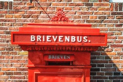 Traditional Dutch Red Antique Mail Box